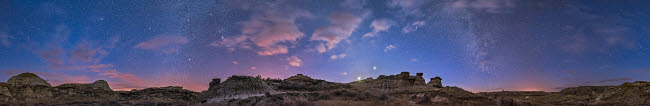 ADY200535S © Stocktrek Images, Inc. A 360 degree panorama of the evening twilight sky in Alberta, Canada.