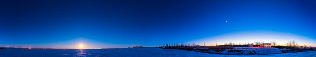 ADY200537S © Stocktrek Images, Inc. Panorama of the winter sky with Full Wolf Moon and evening stars, Alberta, Canada.