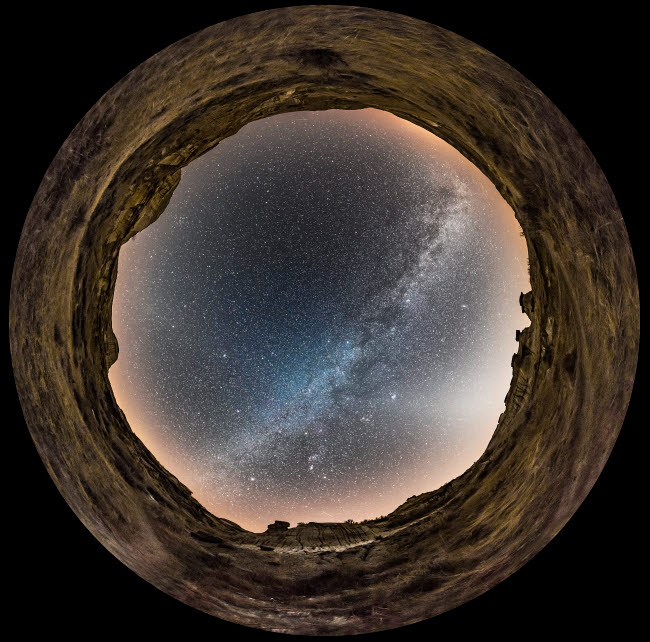 ADY200538S © Stocktrek Images, Inc. Fish-eye lens view of the Milky Way at Dinosaur Provincial Park in Alberta, Canada.