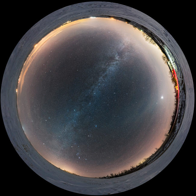 ADY200539S © Stocktrek Images, Inc. A 360 degree fish-eye scene of the celestial winter sky taken in southern Alberta, Canada