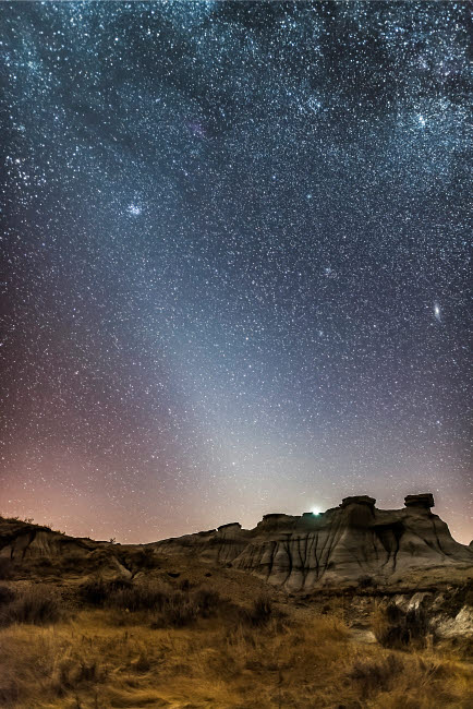ADY200546S © Stocktrek Images, Inc. Evening zodiacal light from Dinosaur Provincial Park, Alberta, Canada.
