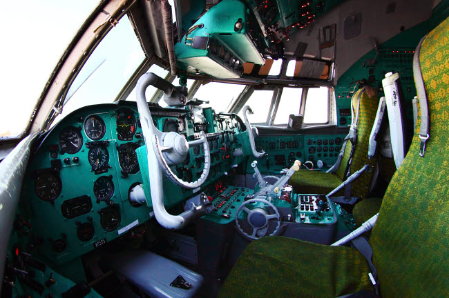 ANK100001M © Stocktrek Images, Inc. Cockpit of an IL-62M airliner of the Russian Air Force, Russia.
