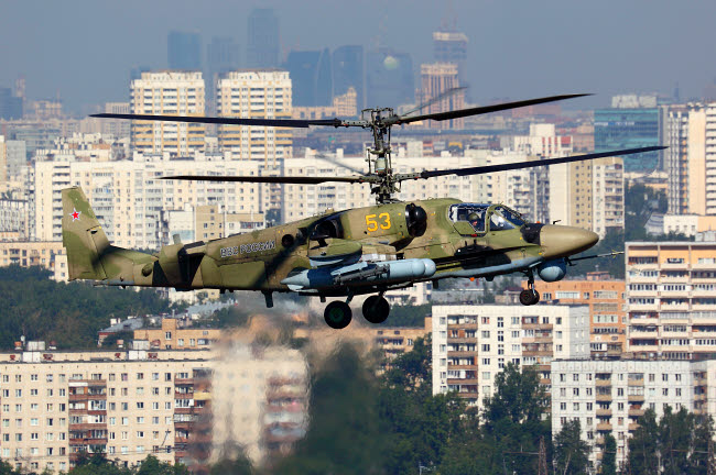 ANK100009M © Stocktrek Images, Inc. Ka-52 Alligator attack helicopter of the Russian Air Force taking off, Russia.