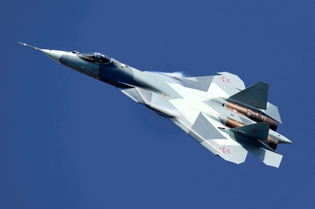 ANK100016M © Stocktrek Images, Inc. T-50 PAK-FA 051 BLUE fifth generation jet fighter of the Russian Air Force.