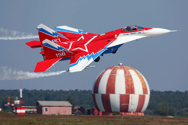 ANK100017M © Stocktrek Images, Inc. MiG-29OVT jet fighter taking off, Zhukovsky, Russia.