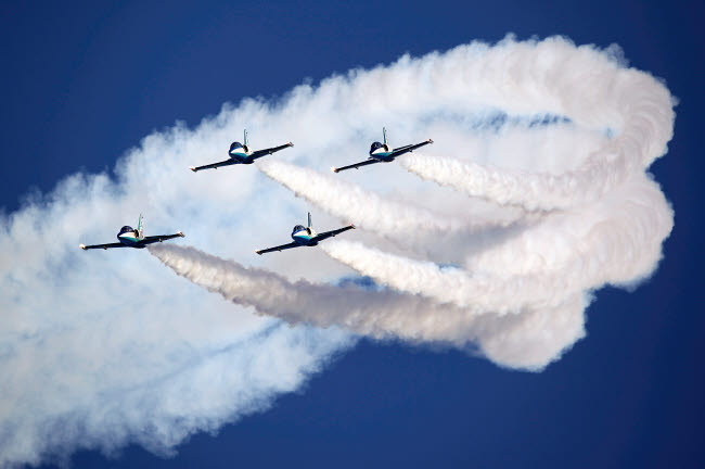 ANK100019M © Stocktrek Images, Inc. Group of L-39 Albatros training aircraft of the Russian aerobatics team.