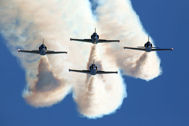 ANK100021M © Stocktrek Images, Inc. Group of L-39 Albatros training aircraft of the Russian aerobatics team.