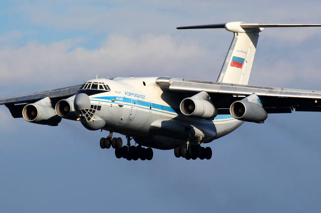 ANK100023M © Stocktrek Images, Inc. IL-76M transport aircraft of the Russian Air Force prepares for landing.