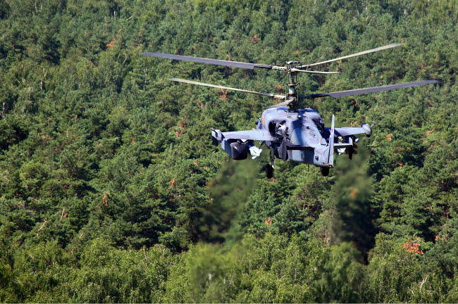 ANK100027M © Stocktrek Images, Inc. Ka-52 Alligator attack helicopter of the Russian Air Force flying over treetops in Russia.