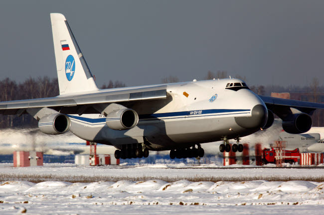 ANK100033M © Stocktrek Images, Inc. An-124 Ruslan heavy transport aircraft of the Russian Air Force landing.