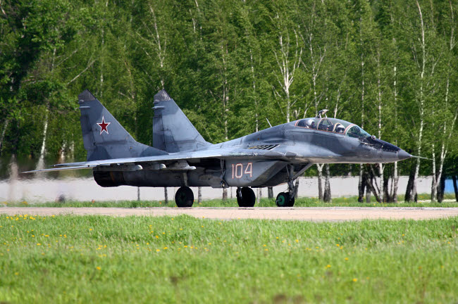ANK100034M © Stocktrek Images, Inc. MiG-29UB jet fighter of the Russian Air Force, Kubinka, Russia.