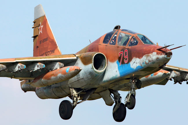 ANK100036M © Stocktrek Images, Inc. Su-25UB attack aircraft of the Russian Air Force landing, Kubinka, Russia.