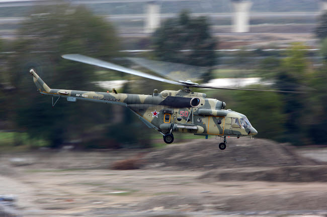 ANK100045M © Stocktrek Images, Inc. Mil Mi-8AMTSH transport helicopter of the Russian Air Force taking off, Russia.