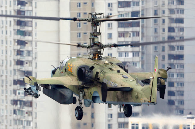 ANK100048M © Stocktrek Images, Inc. Ka-52 Alligator attack helicopter of the Russian Air Force landing, Russia.