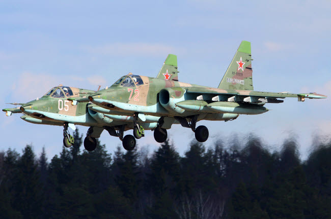 ANK100054M © Stocktrek Images, Inc. Pair of Su-25 attack aircraft of the Russian Air Force landing, Kubinka, Russia.