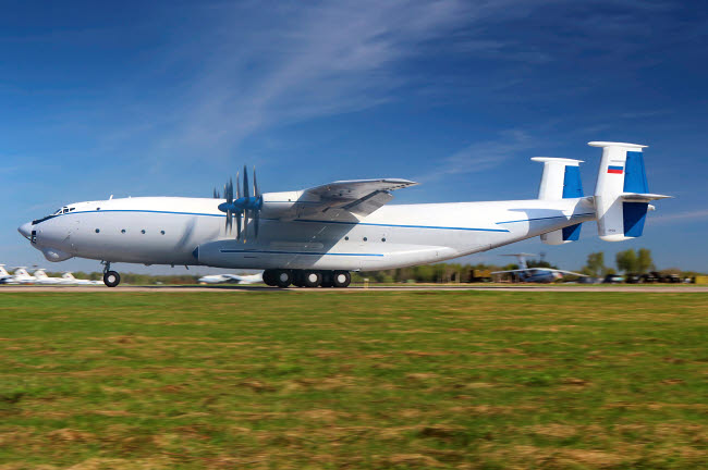 ANK100055M © Stocktrek Images, Inc. An-22 heavy transport aircraft of the Russian Air Force taking off.
