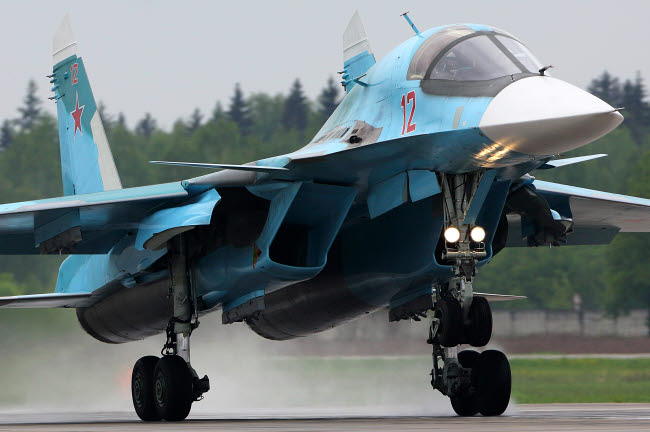 ANK100286M © Stocktrek Images, Inc. Su-34 attack airplane of Russian Air Force landing, Kubinka, Russia.