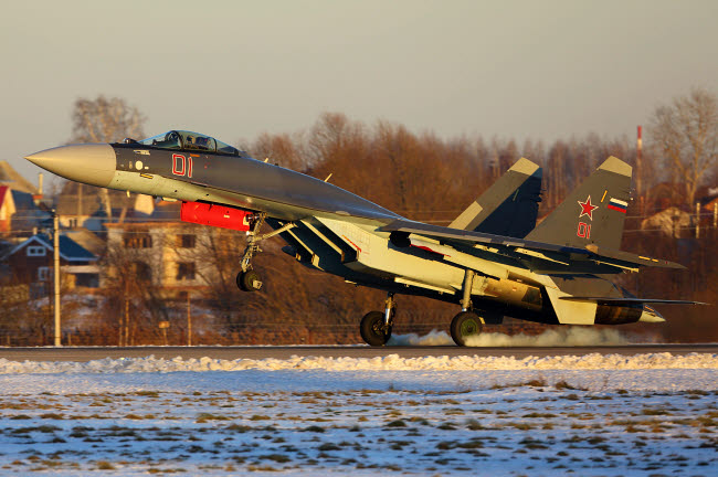 ANK100306M © Stocktrek Images, Inc. Su-35S jet fighter of Russian Air Force with landing, Zhukovsky, Russia.