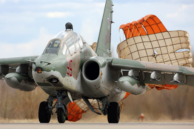 ANK100364M © Stocktrek Images, Inc. Su-25 attack airplane of Russian Air Force taxiing after landing.