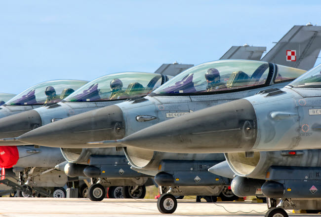 GCA100390M © Stocktrek Images, Inc. Line-up of Hellenic Air Force F-16 aircraft.