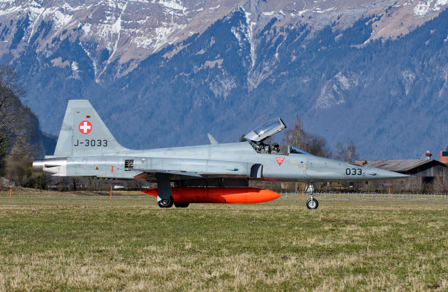 GCA100730M © Stocktrek Images, Inc. F-5E Tiger II from the Swiss Air Force taxiing at Meiringen Air Base.