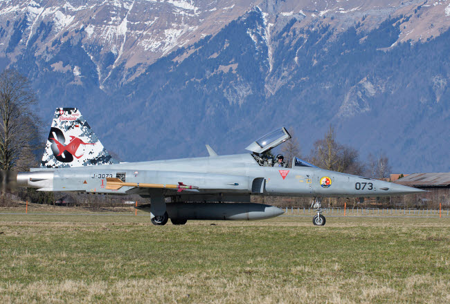 GCA100731M © Stocktrek Images, Inc. F-5E Tiger II from the Swiss Air Force taxiing at Meiringen Air Base.