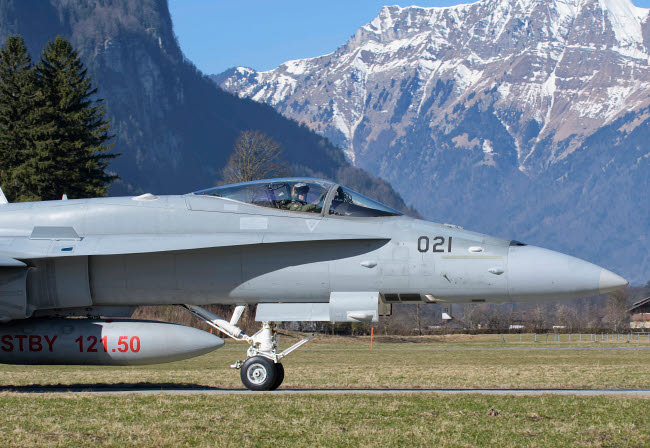 GCA100732M © Stocktrek Images, Inc. F/A-18 from the Swiss Air Force taxiing at Meiringen Air Base, Switzerland.