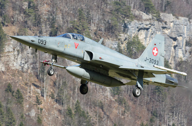 GCA100742M © Stocktrek Images, Inc. F-5E Tiger II from the Swiss Air Force landing.