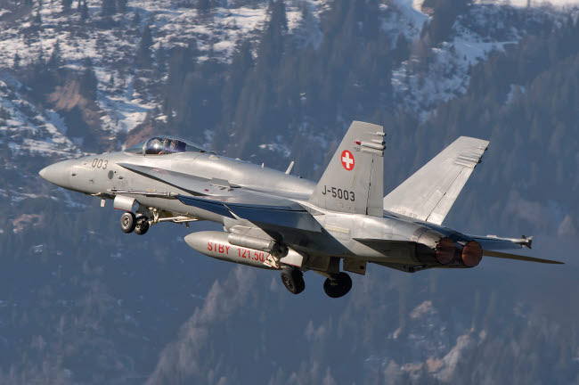 GCA100744M © Stocktrek Images, Inc. F/A-18 from the Swiss Air Force taking off.