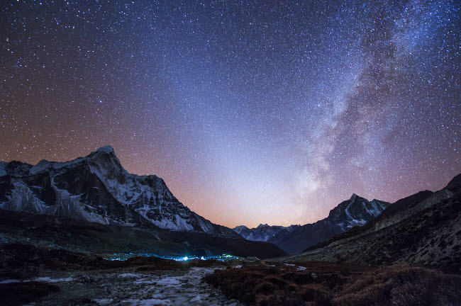 JFD200006S © Stocktrek Images, Inc. Milky Way and zodiacal light ove the Himalayas in eastern Nepal.