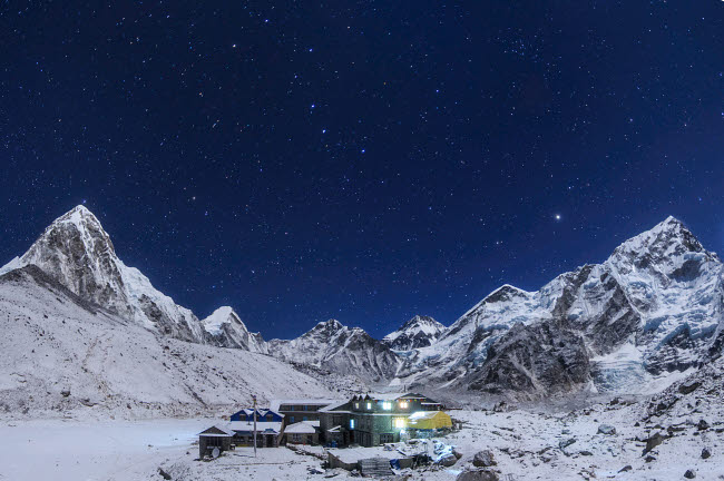 JFD200008S © Stocktrek Images, Inc. the Big Dipper rise above the Himalayas and the Gorak Shep settlement in Nepal.