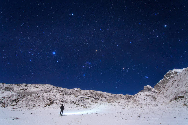 JFD200010S © Stocktrek Images, Inc. Winter constellations above the Himalayas in Sagarmatha National Park of Nepal.