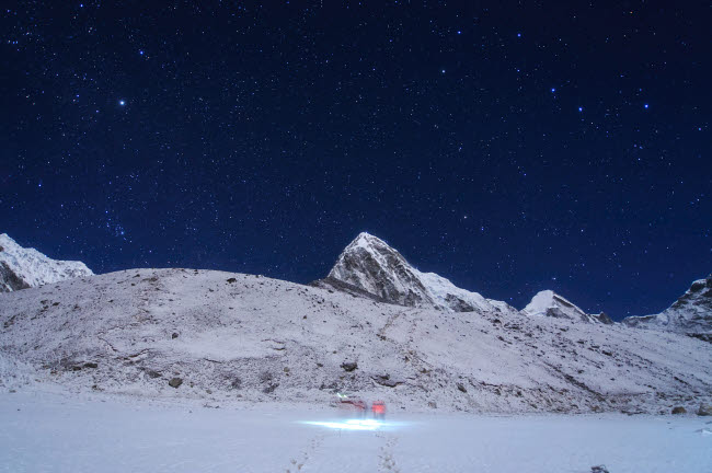 JFD200011S © Stocktrek Images, Inc. Visitors trekking to Kala Pattar in this clear moonlight night at Gorak Shep in Nepal.