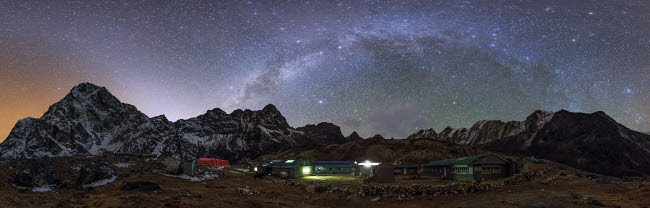 JFD200018S © Stocktrek Images, Inc. The arch of the Milky Way galaxy and bright zodiacal light  over the Himalayas in Nepal.