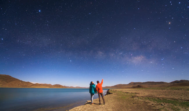 JFD200022S © Stocktrek Images, Inc. A couple enjoys a romantic moment under the Milky Way in Tibet, China.