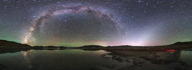 JFD200056S © Stocktrek Images, Inc. The arc of the Milky Way  and zodiacal light appear over Yamdrok Lake, Tibet, China.