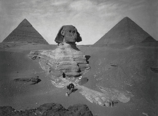 JPA101283M © Stocktrek Images, Inc. Vintage Egyptian history photo of the partially excavated Sphinx of Giza.