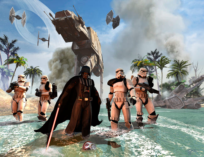 KRT200029S © Stocktrek Images, Inc. Darth Vader searching the beach in front of a down X-Wing pilot.