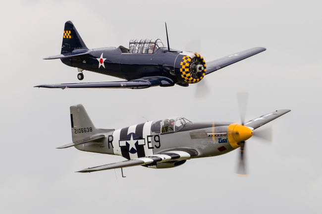 RDG100084M © Stocktrek Images, Inc. A P-51 Mustang flies by in formation with an SNJ.