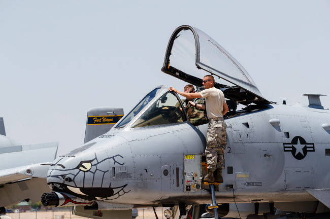 RDG100235M © Stocktrek Images, Inc. A U.S. Air Force A-10 Thunderbolt II on the ramp at Davis Monthan Air Force Base.