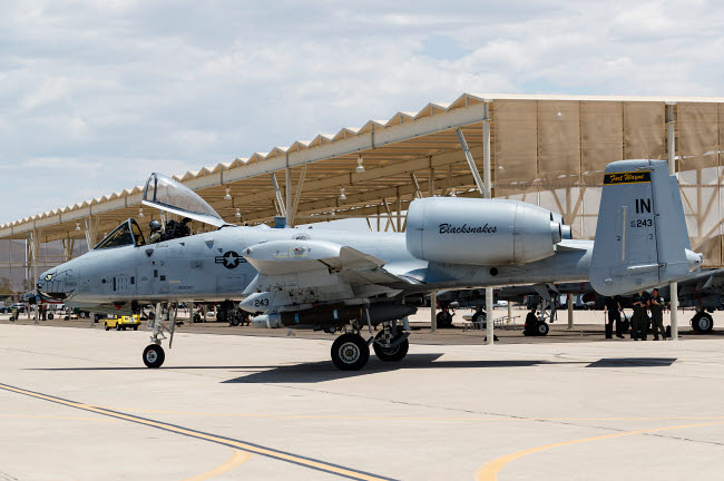 RDG100239M © Stocktrek Images, Inc. An A-10 Thunderbolt II taxies into the ramp at Davis Monthan Air Force Base.