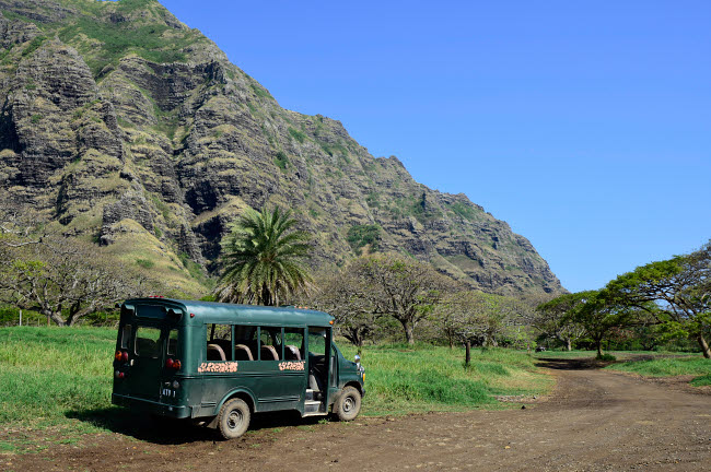 RYN100020T © Stocktrek Images, Inc. A bus parked on a trail along the Ko'olau Range in Oahu, Hawaii.