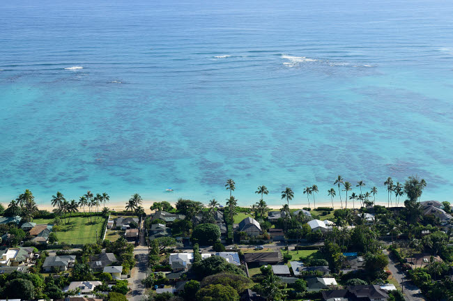 RYN100026T © Stocktrek Images, Inc. View overlooking the coastline of Lanikai Beach, Oahu, Hawaii.