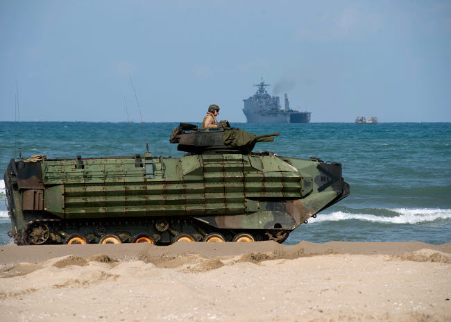 STK108884M © Stocktrek Images, Inc. An U.S. Marine Corps amphibious assault vehicle arrives on shore in Pohang, Republic of Korea.