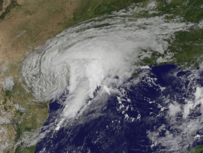 STK204721S © Stocktrek Images, Inc. Satellite view of Tropical Storm Harvey over Texas.