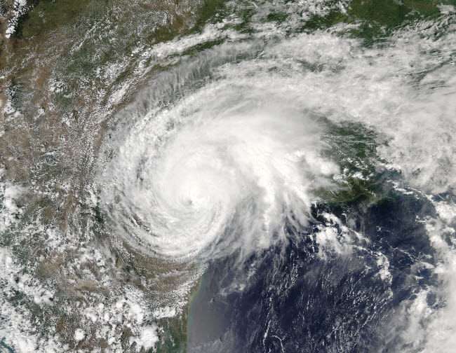 STK204726S © Stocktrek Images, Inc. Satellite view of Tropical Storm Harvey over Texas.