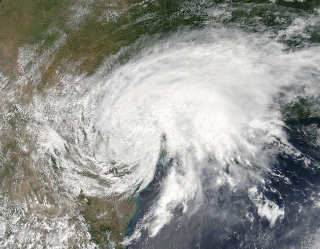 STK204727S © Stocktrek Images, Inc. Satellite view of Tropical Storm Harvey over Texas.