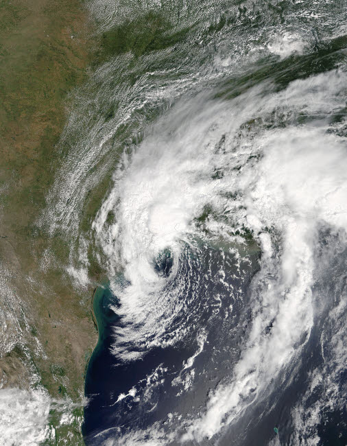 STK204729S © Stocktrek Images, Inc. Satellite view of Tropical Storm Harvey over Texas.