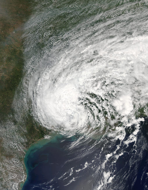 STK204730S © Stocktrek Images, Inc. Satellite view of Tropical Storm Harvey over Texas and Louisiana.