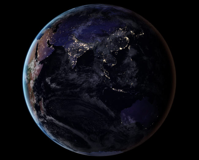 STK204758S © Stocktrek Images, Inc. Full Earth showing city lights of Asia at night.